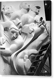 Isamu Noguchi Working Acrylic Print