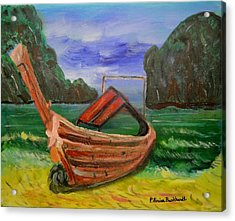 Island Canoe Acrylic Print by Louise Burkhardt