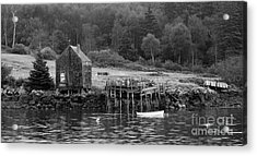 Island Shoreline In Black And White Acrylic Print