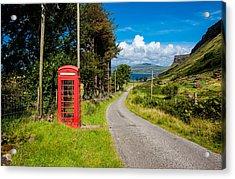 Traditonal British Telephone Box On The Isle Of Mull Acrylic Print