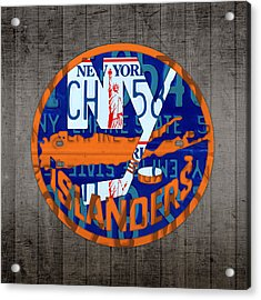 Islanders Hockey Team Retro Logo Vintage Recycled New York License Plate Art Acrylic Print by Design Turnpike