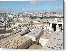 Israel, Jerusalem, View Of The Old City Acrylic Print by Ellen Clark