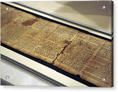 Israel Museum Displays Dead Sea Scrolls Acrylic Print by Lior Mizrahi