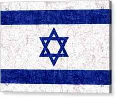 Israel Star Of David Flag Batik Acrylic Print