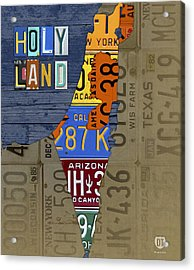 Israel The Holy Land Map Made With Recycled Usa License Plates Acrylic Print by Design Turnpike