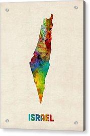 Israel Watercolor Map Acrylic Print