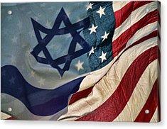 Israeli American Flags Acrylic Print