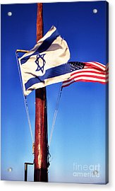 Israeli Flag And Us Flag Acrylic Print by Thomas R Fletcher