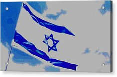 Acrylic Print featuring the photograph Israeli Flag by Diane Miller