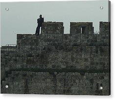 Israeli Soldier On The Walls Of The Old City Acrylic Print by Esther Newman-Cohen