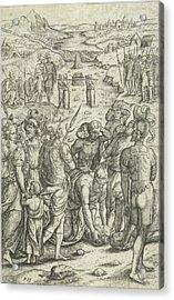 Israelites Cross The Jordan, Pieter Huys Acrylic Print by Pieter Huys And Pieter Van Der Borcht (i)