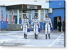 Iss Expedition 46 Crew Before Launch Acrylic Print by Nasa/victor Zelentsov