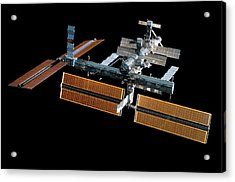Iss With New Solar Panels Acrylic Print