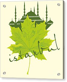 Istanbul City And Sycamore Leaf Vector Acrylic Print