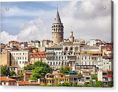 Istanbul Cityscape And Galata Tower Acrylic Print by Artur Bogacki