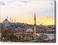 Istanbul Cityscape Digital Painting Acrylic Print by Antony McAulay