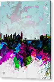 Istanbul Watercolor Skyline Acrylic Print by Naxart Studio