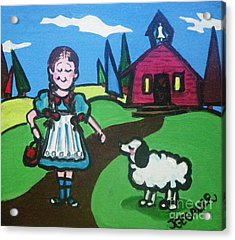 Acrylic Print featuring the painting It Followed Her To School One Day by Joyce Gebauer