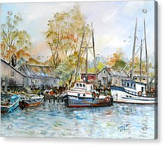 It Is A Busy Day Here At The Marina Acrylic Print by Dorothy Maier