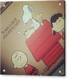 It Was A Dark And Stormy Night. #snoopy Acrylic Print