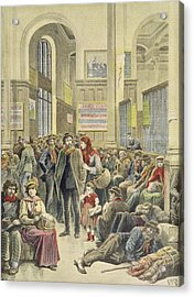 Italian Emigrants At Gare Saint-lazare, From Le Petit Journal, 29th March 1896 Coloured Engraving Acrylic Print