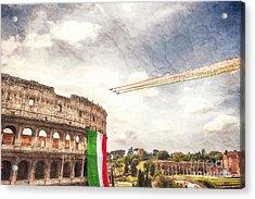Italian Flag In Rome Acrylic Print by Stefano Senise