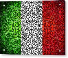 Italian Flag - Italy Stone Rock'd Art By Sharon Cummings Italia Acrylic Print by Sharon Cummings