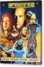 Italian Greyhound Art Canvas Print - The Fifth Element Movie Poster Acrylic Print