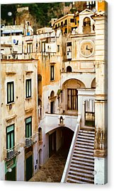 Italian Scene With Clocktower Acrylic Print