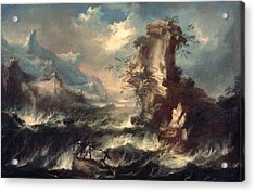 Italian Seascape With Rocks And Figures Acrylic Print by Marco Ricci