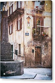 Acrylic Print featuring the photograph Italian Square In  Snow by Silvia Ganora