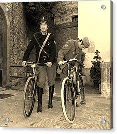 Italian Vintage Firemen Cyclists Acrylic Print