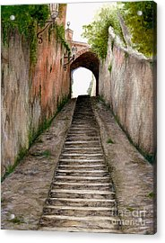 Italian Walkway Steps To A Tunnel Acrylic Print by Nan Wright