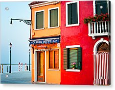 Italy Burano Fish Shop Acrylic Print by Joan Herwig