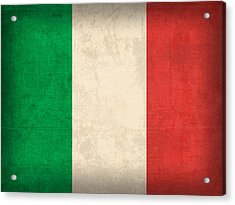 Italy Flag Vintage Distressed Finish Acrylic Print