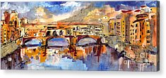 Italy Ponte Vecchio Florence Acrylic Print by Ginette Callaway