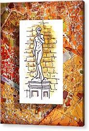Italy Sketches Michelangelo David Acrylic Print by Irina Sztukowski