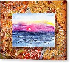 Italy Sketches Sorrento Sunset Acrylic Print by Irina Sztukowski