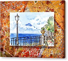 Italy Sketches Sorrento View On Volcano Vesuvius  Acrylic Print