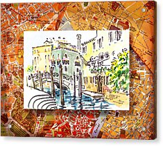 Italy Sketches Venice Canale Acrylic Print by Irina Sztukowski