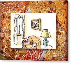 Italy Sketches Venice Hotel Acrylic Print by Irina Sztukowski