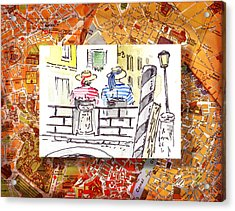 Italy Sketches Venice Two Gondoliers Acrylic Print by Irina Sztukowski