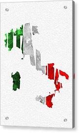 Italy Typographic Map Flag Acrylic Print by Ayse Deniz