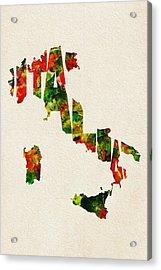 Italy Typographic Watercolor Map Acrylic Print by Ayse Deniz