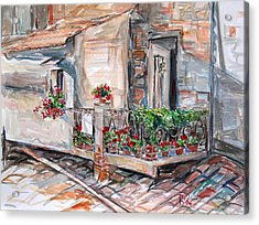 Italy Visit Over The Window Acrylic Print by Becky Kim