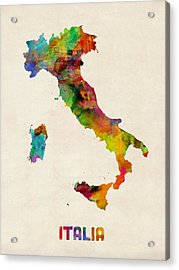 Italy Watercolor Map Italia Acrylic Print by Michael Tompsett