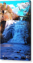 Ithaca Water Falls New York Panoramic Photography Acrylic Print by Paul Ge