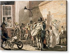 Itinerant Musicians Playing In A Poor Acrylic Print by Paul Sandby