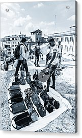 Itinerant Street Sellers Selling Fake Designer Goods Laid Out On Acrylic Print
