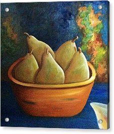 Acrylic Print featuring the painting It's All About Pears  Sold by Susan Dehlinger